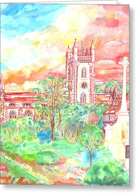 Greeting Card featuring the painting St Peter's Church - St Albans by Giovanni Caputo