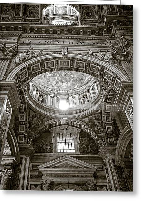 St. Peter's Rays In Sepia Greeting Card by Susan Schmitz