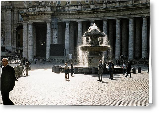 Fountain St. Peter's Square Greeting Card by Kim Lessel