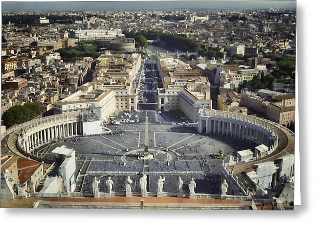 St Peter's Square Greeting Card by Joan Carroll