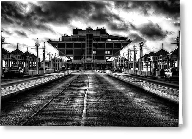 St Petersburg Pier In Monochrome Hdr Greeting Card
