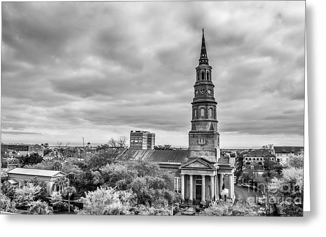 St. Philip's Church X Downtown Charleston Greeting Card by Philip Jr Photography