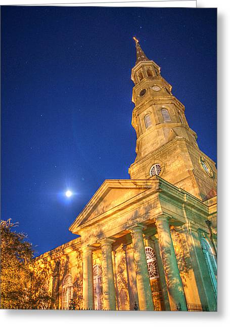 St. Phillip's At Night With Moon And Stars Greeting Card