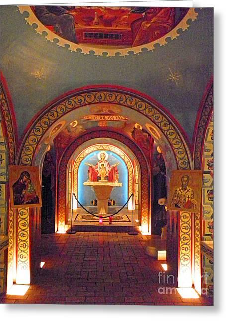 St Photios Greek Shrine Greeting Card by Elizabeth Hoskinson