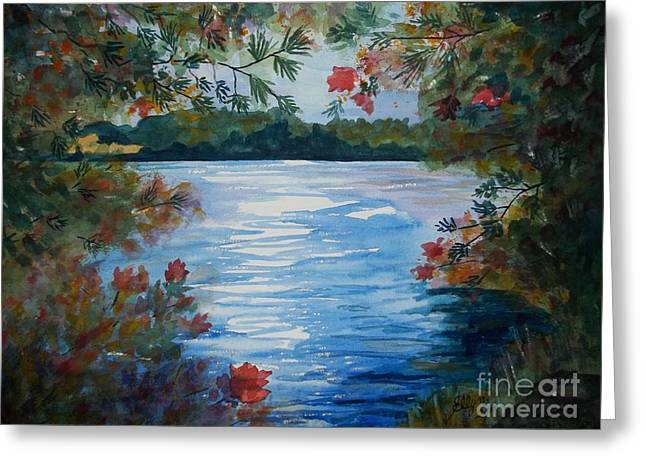 St. Regis Lake Greeting Card by Ellen Levinson