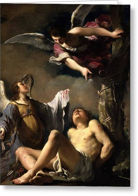 St. Sebastian Succoured By Two Angels Greeting Card
