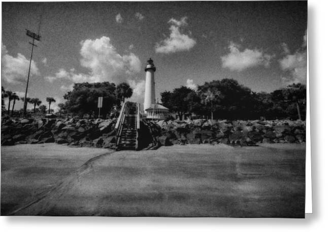 St Simmon's Lighthouse 2 Greeting Card by J Riley Johnson