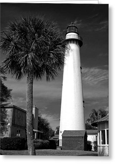 St. Simons Island Georgia Lighthouse In Black And White Greeting Card