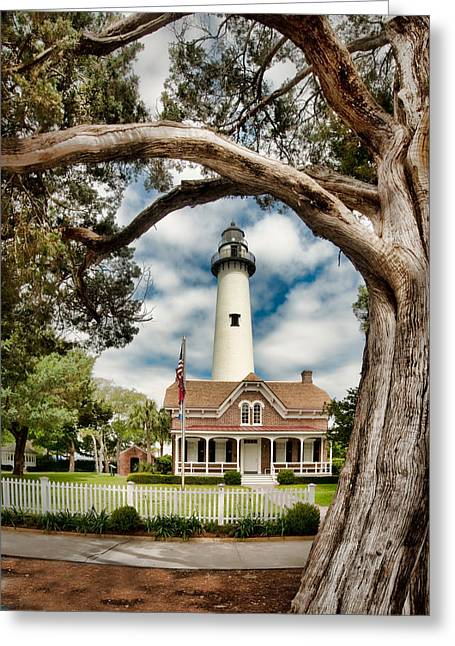 St. Simons Island Lighthouse  Greeting Card by Brent Craft