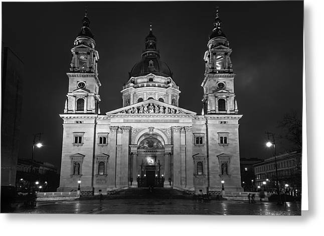 St Stephen's Basilica Budapest Night Bw Greeting Card by Joan Carroll