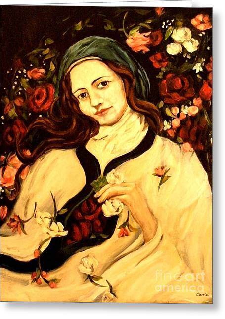 St. Therese Greeting Card by Carrie Joy Byrnes