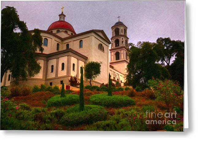 Greeting Card featuring the painting St. Thomas Aquinas Church Large Canvas Art, Canvas Print, Large Art, Large Wall Decor, Home Decor by David Millenheft