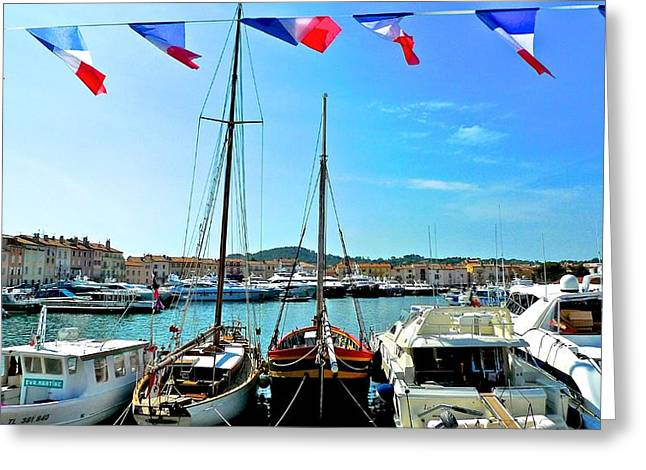 St Tropez Flags Greeting Card by Dwight Pinkley