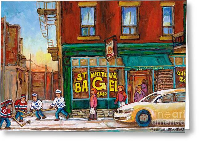 St. Viateur Bagel-boys Playing Street Hockey In Laneway-montreal Street Scene Painting Greeting Card by Carole Spandau