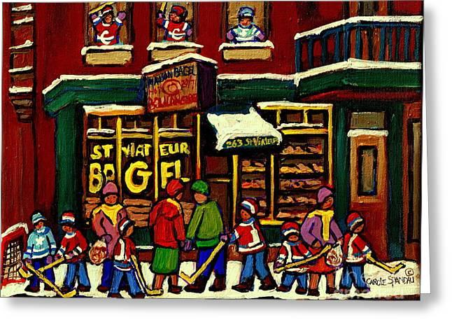 St Viateur Bagel Shop Deli Corner Depanneur Montreal Landmarks Hockey Art Paintings Carole Spandau Greeting Card by Carole Spandau