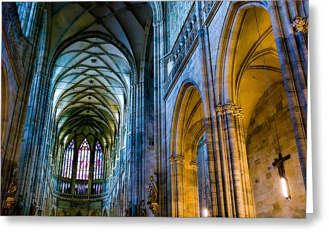 St Vitus Cathedral Greeting Card by Dave Bowman