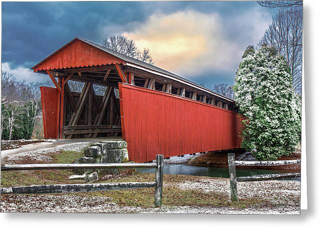 Staats Mill Covered Bridge Greeting Card by Mary Almond