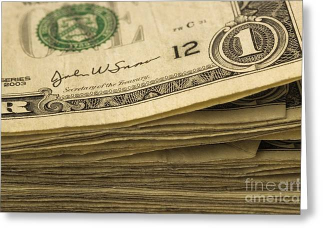 Stack Of American Dollars Greeting Card by Jim Corwin