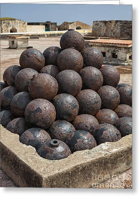 Stack Of Cannon Balls At Castillo San Felipe Del Morro Greeting Card