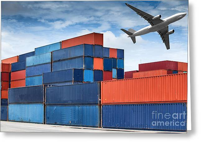 Stack Of Cargo Containers  Greeting Card