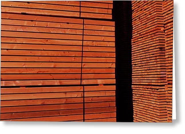 Stack Of Lumber At Sawmill, Eureka Greeting Card