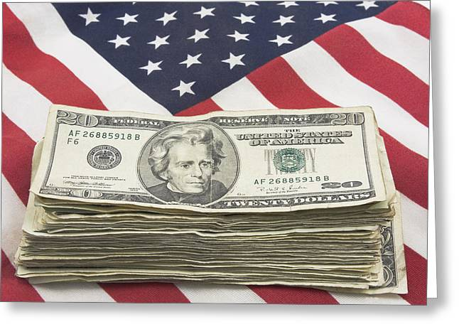 Stack Of Money On American Flag  Greeting Card by Keith Webber Jr