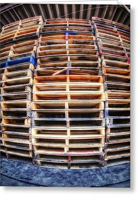 Stack Of Pallets Greeting Card by Rscpics