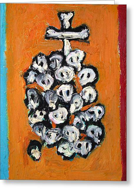 Stack Of Skulls-23- And Bones Greeting Card by Fabrizio Cassetta