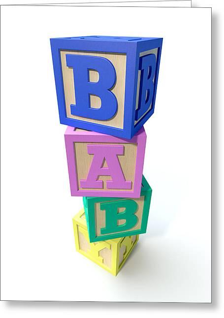 Stacked Baby Blocks Greeting Card by Allan Swart