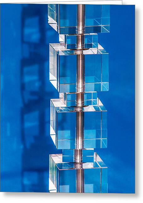 Stacked Cubes On Blue Greeting Card by Art Block Collections