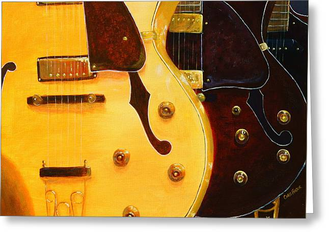 Greeting Card featuring the painting Stacked Guitars by Chris Fraser