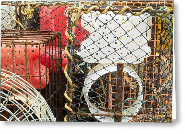 Stacked Lobster Basket Traps To Catch In The Ocean Greeting Card by Stephan Pietzko