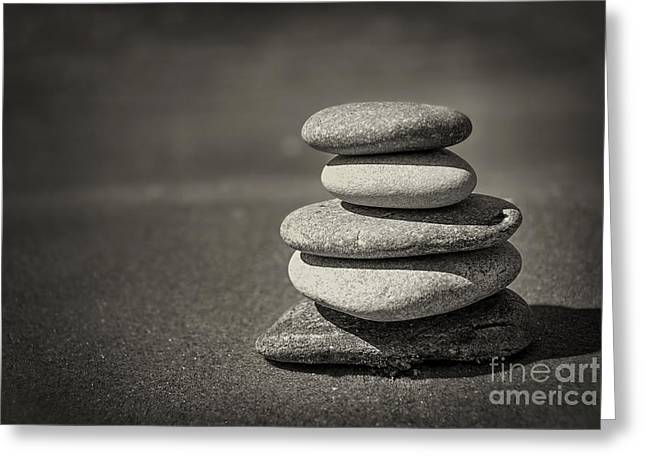 Stacked Pebbles On Beach Greeting Card