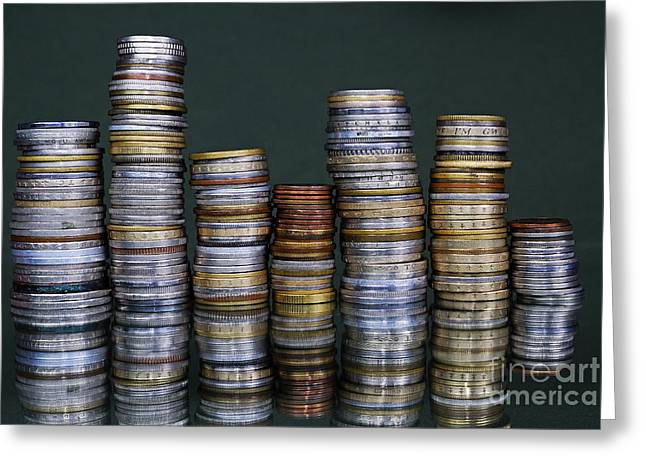 Stacks Of International Coins Greeting Card