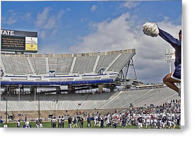 Stadium Cheer Greeting Card by Tom Gari Gallery-Three-Photography
