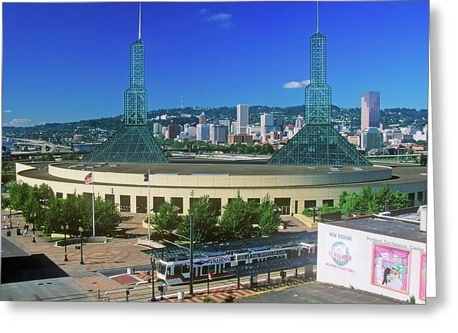 Stadium In Skyline Of Portland, Or Greeting Card