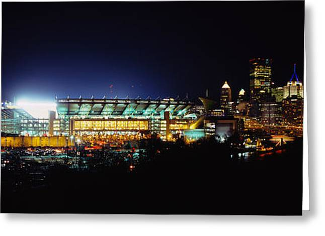 Stadium Lit Up At Night In A City Greeting Card
