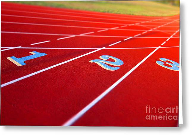 Stadium Track Greeting Card by Olivier Le Queinec