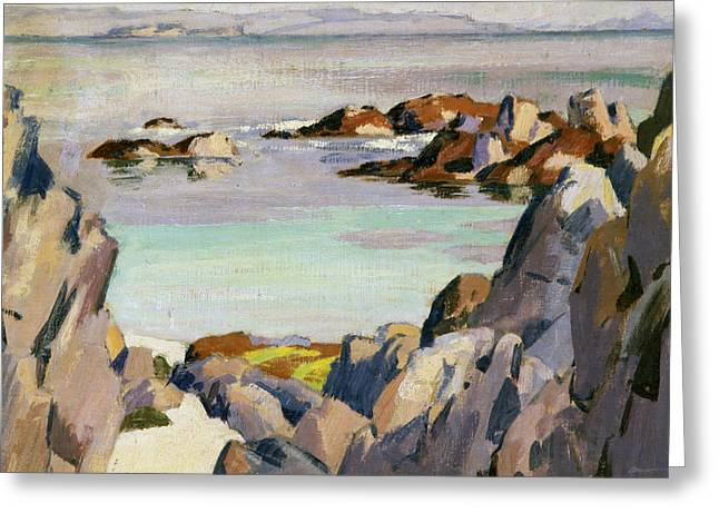 Staffa And Rhum From Iona Greeting Card by Francis Campbell Boileau Cadell