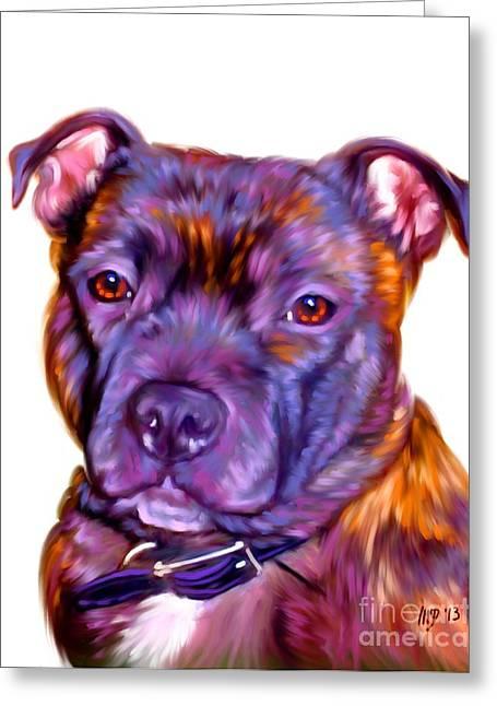 Staffie Pet Portrait Greeting Card