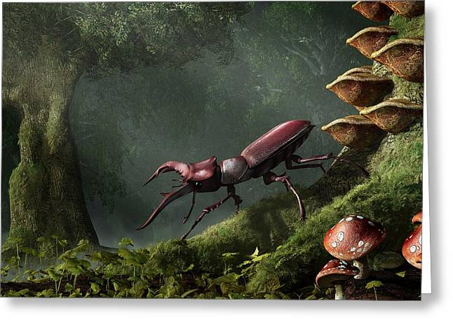 Stag Beetle Greeting Card