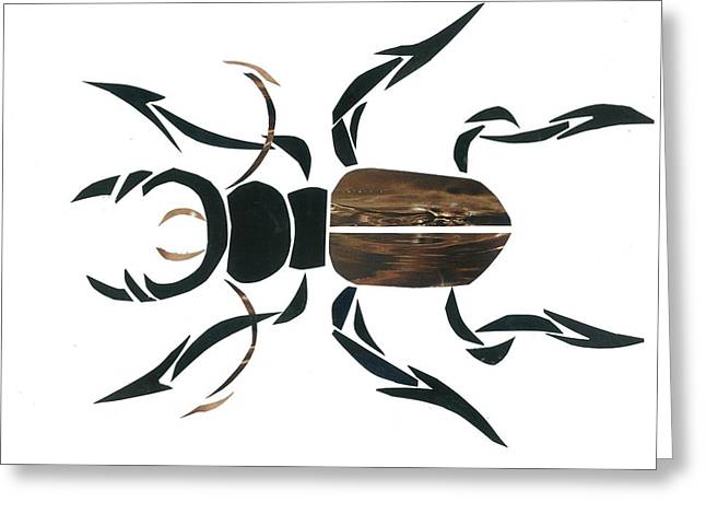 Stag Beetle Going Tribal Greeting Card by Earl ContehMorgan
