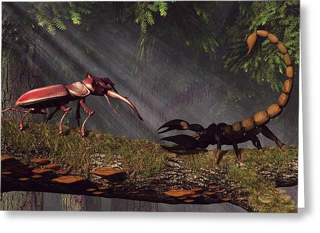 Stag Beetle Versus Scorpion Greeting Card