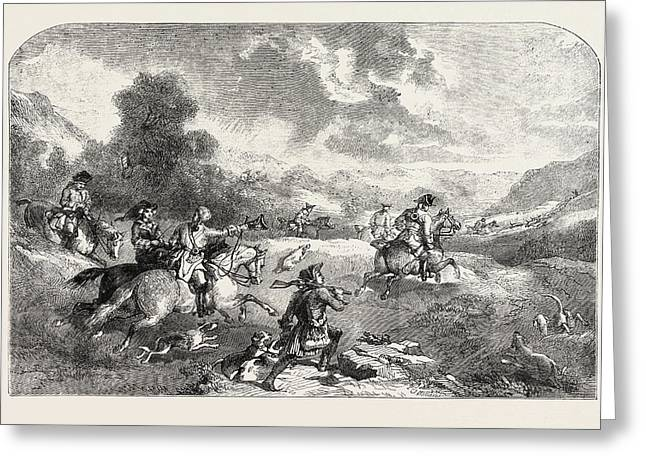 Stag-hunting In The Reign Of George II Greeting Card