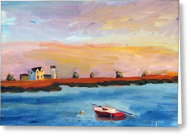 Stage Harbor Sunset Greeting Card