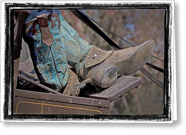 Stagecoach Cowboy's Boots Greeting Card by Judy Deist