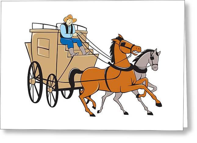 Stagecoach Driver Horse Cartoon Greeting Card
