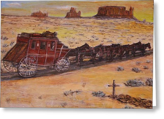 Southwest Stagecoach Greeting Card by Larry Lamb