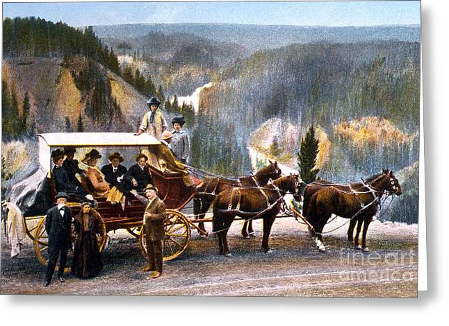 Stagecoach Near Upper Falls Greeting Card by NPS Photo Frank J Haynes