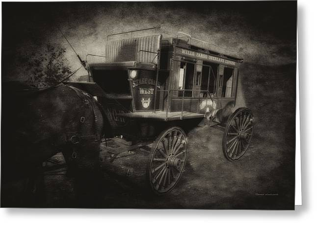 Stagecoach West Antique Textured Greeting Card
